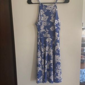 Small dress, light blue with white flowers.